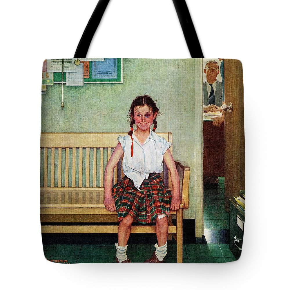 Black Eyes Tote Bag featuring the drawing Shiner by Norman Rockwell
