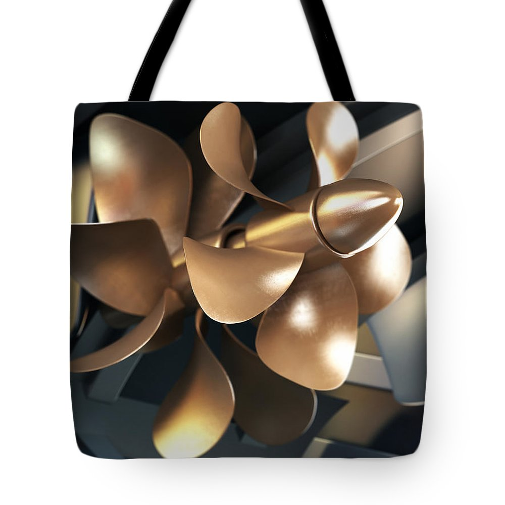 Engine Tote Bag featuring the photograph Ship Propeller by Adventtr