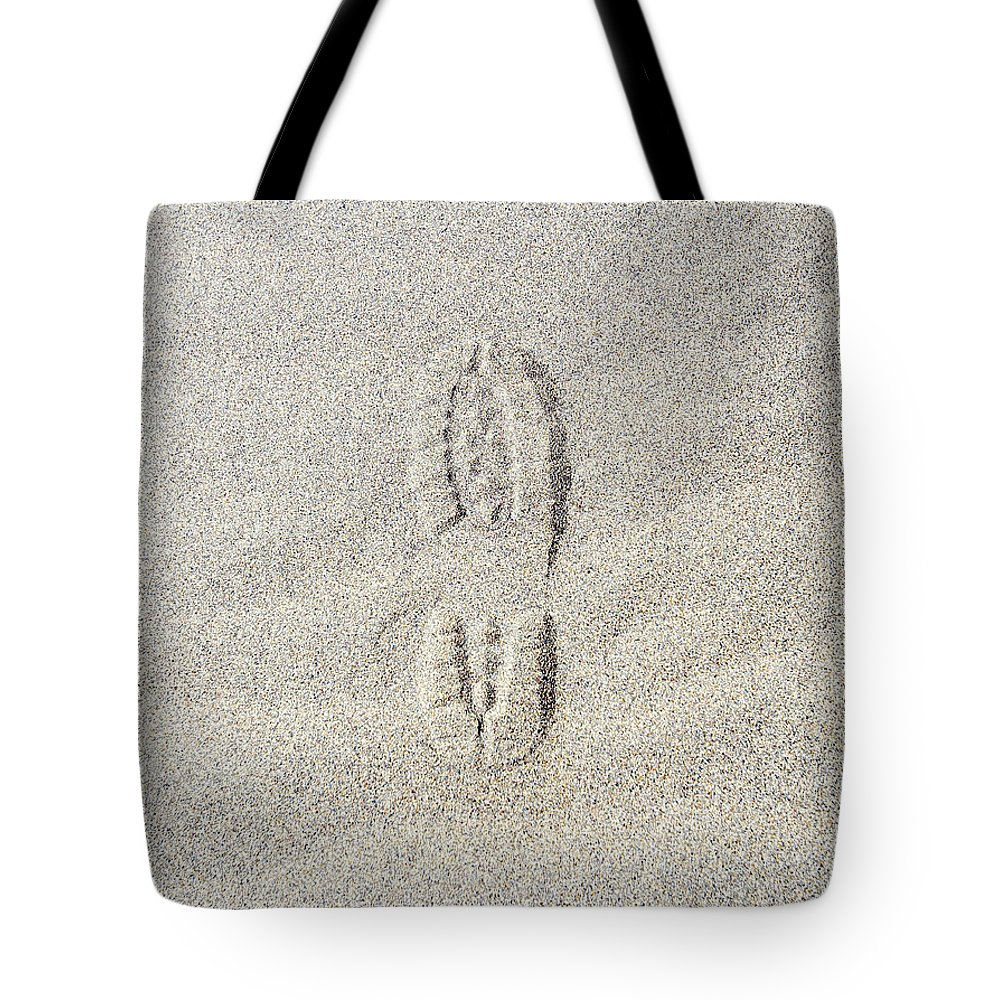 California Tote Bag featuring the photograph Shoe Print In Sand by Thomas Northcut