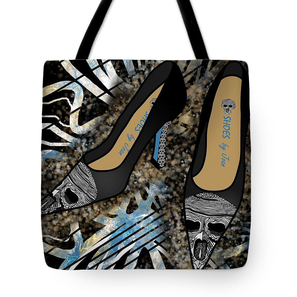 Fashion Tote Bag featuring the drawing Shoes By Joan Skull Black Pumps by Joan Stratton
