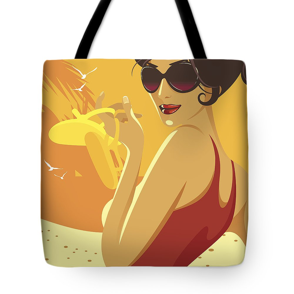 Tropical Tree Tote Bag featuring the digital art Shoes Off by Megamix