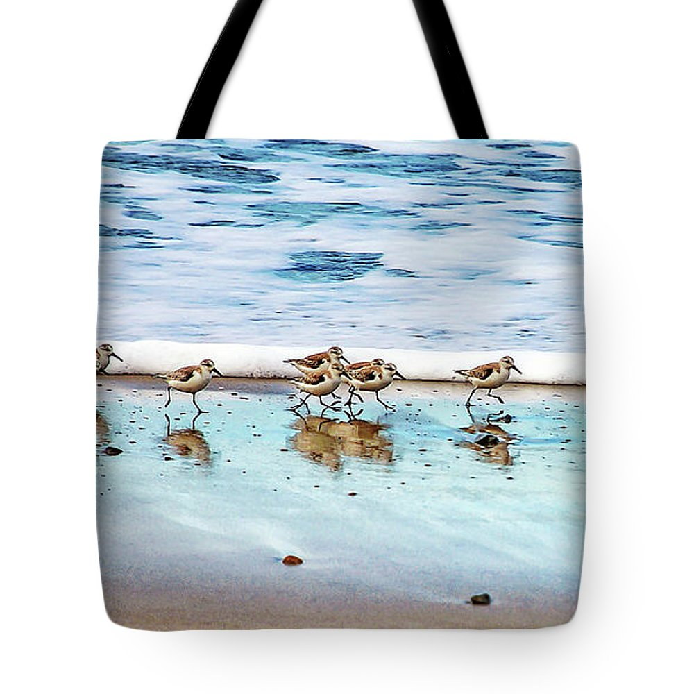 Animal Themes Tote Bag featuring the photograph Shorebirds by Vanessa Mccauley