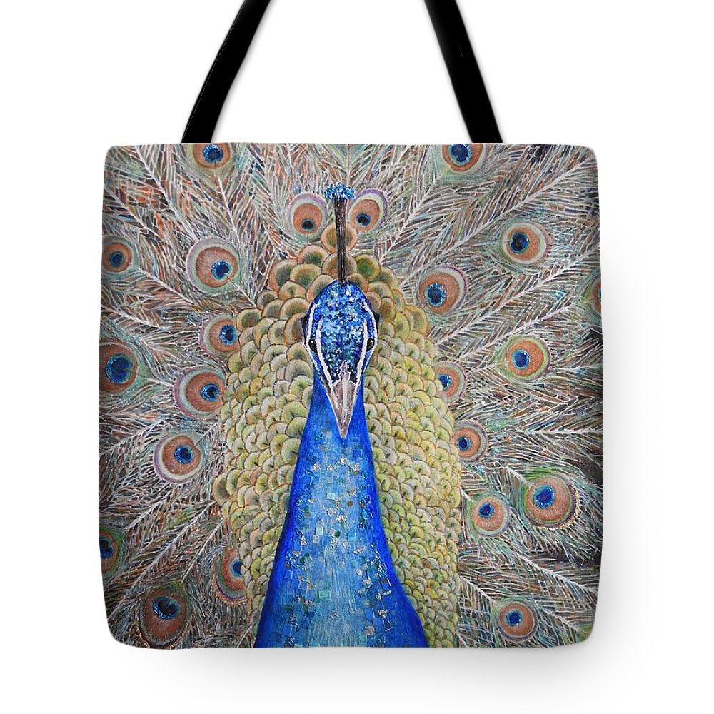 Painting Of A Peacock Tote Bag featuring the mixed media Showy Display by Kathy Gales