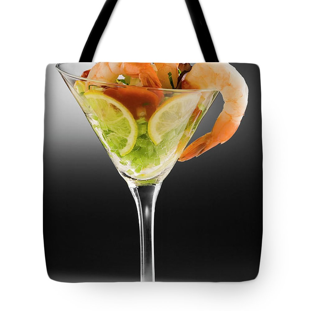 Martini Glass Tote Bag featuring the photograph Shrimp Cocktail In Cocktail Glass by C Squared Studios