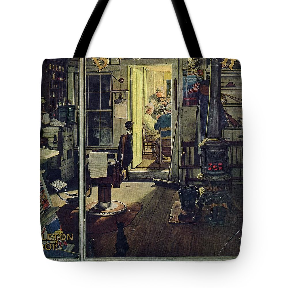 Barbers Tote Bag featuring the drawing Shuffleton's Barbershop by Norman Rockwell