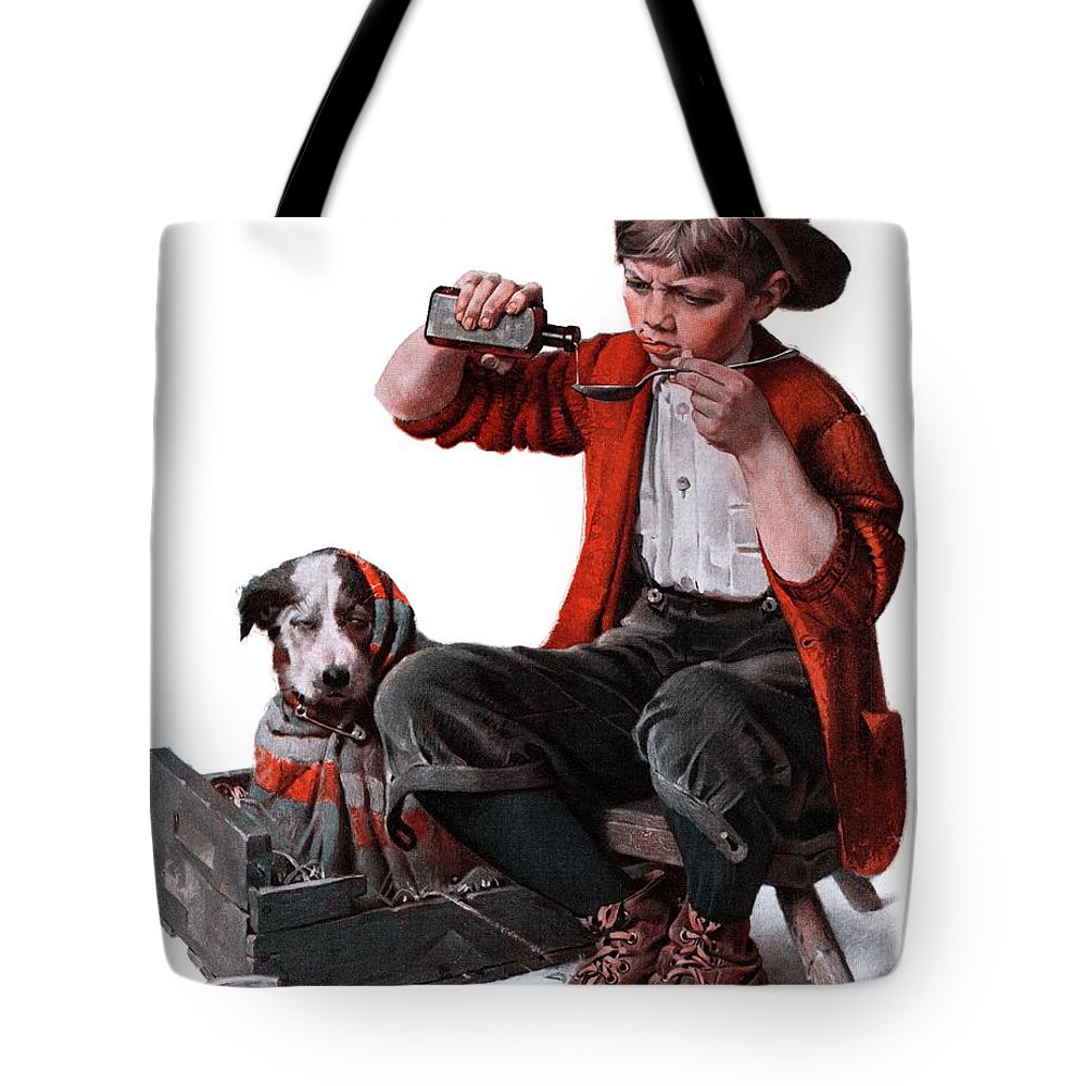 Boy Tote Bag featuring the drawing Sick Puppy by Norman Rockwell