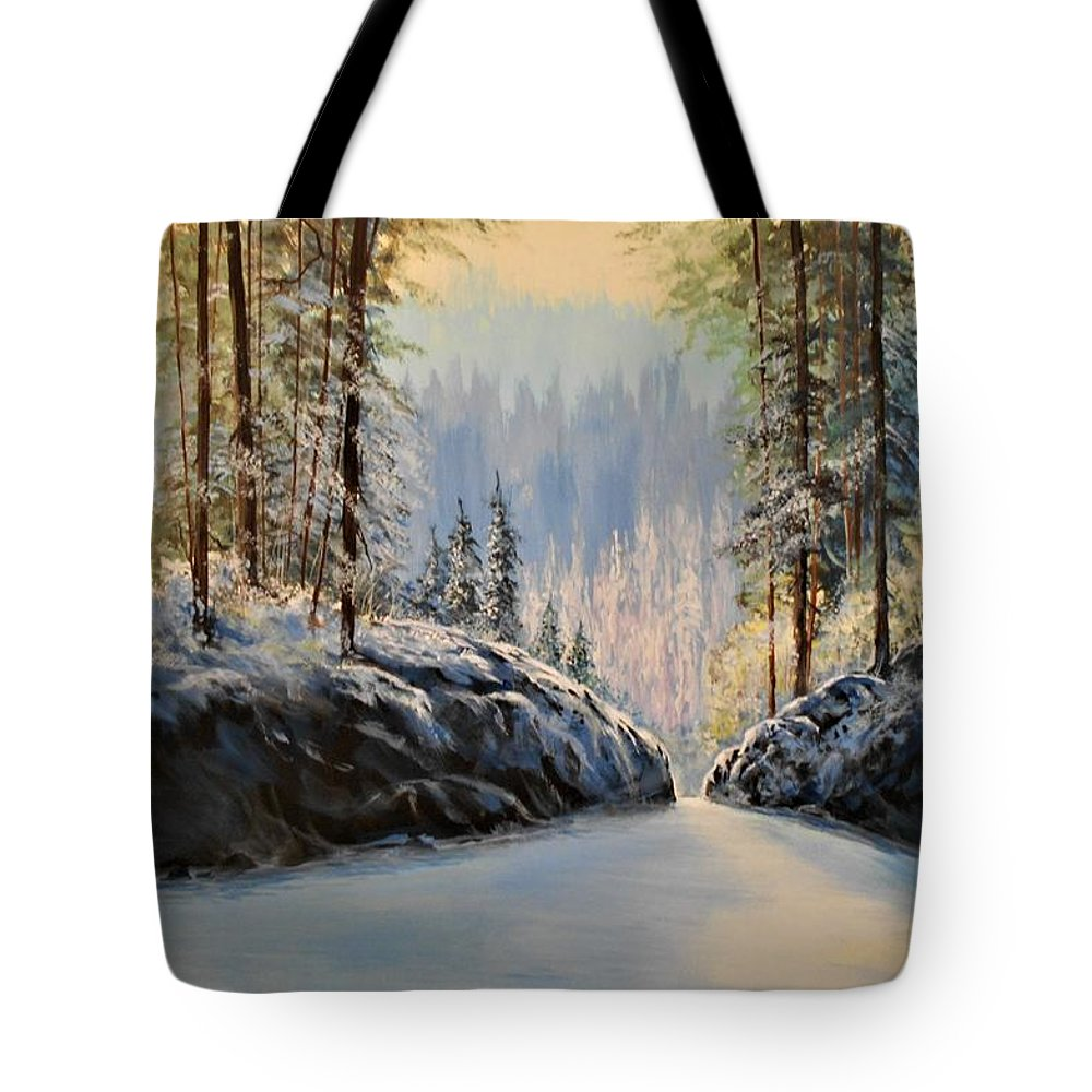 Winter Landscape Tote Bag featuring the painting Silence  #153 by Frederick Skidmore