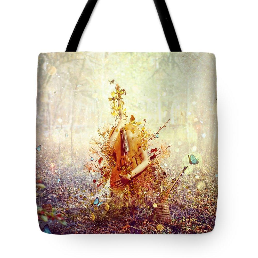 Surreal Tote Bag featuring the digital art Silence by Mario Sanchez Nevado