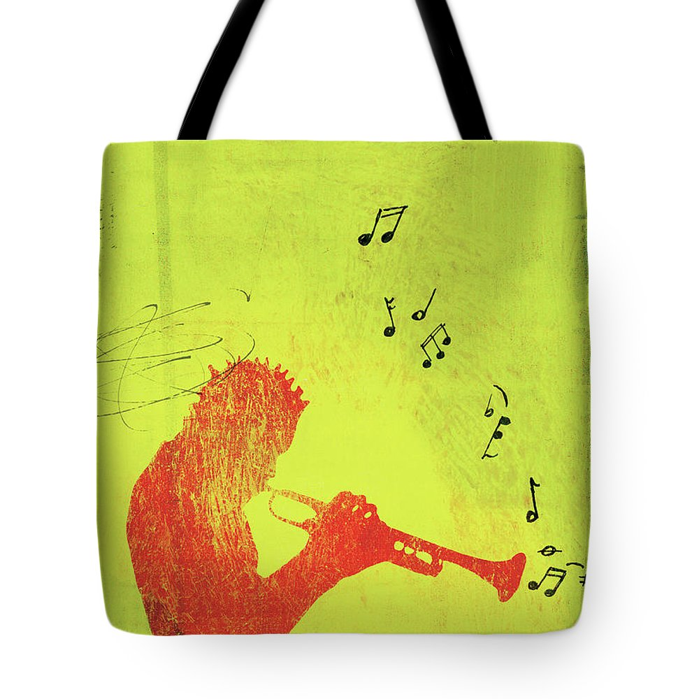 One Man Only Tote Bag featuring the digital art Silhouette Of Trumpet Player by Darren Hopes