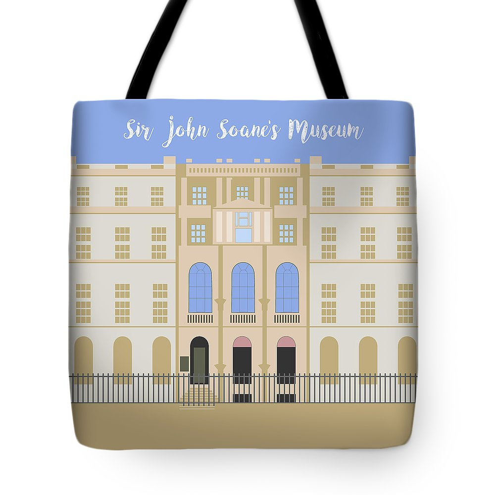 Blue Tote Bag featuring the digital art Sir John Soane's Museum by Claire Huntley