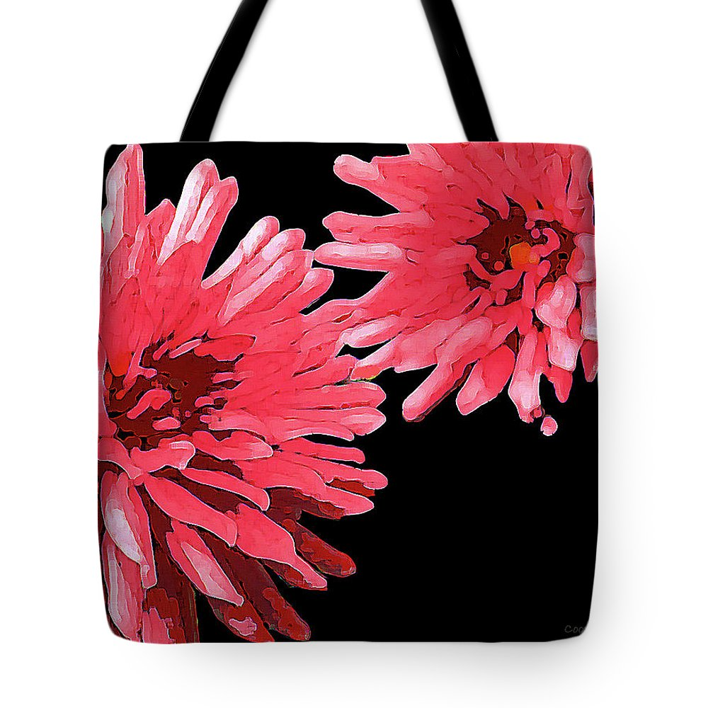 Sisters 5 Flower Plant Nature Peggy Cooper Cooperhouse Impressionist Impressionism Red Hot Pink Bold Digital Art Photography Tote Bag featuring the digital art Sisters 5 by Peggy Cooper