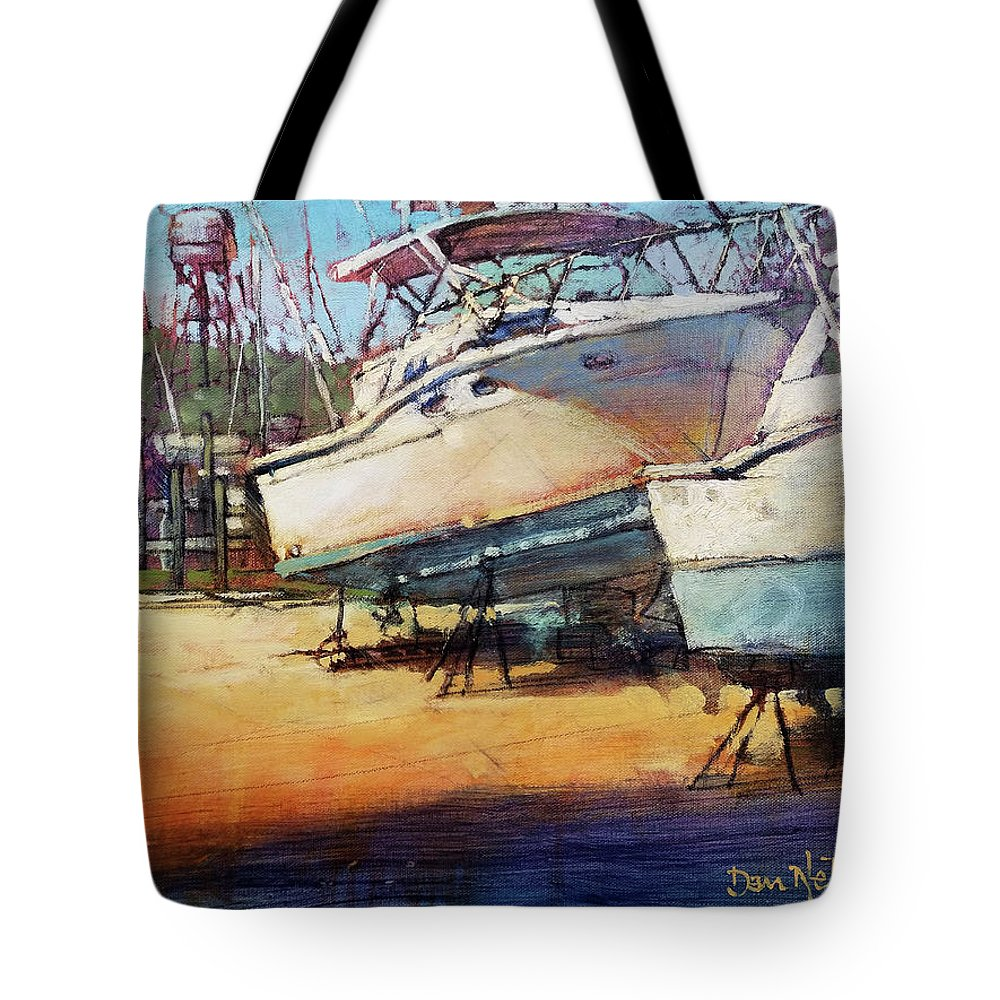 Boat Dock. Boat Repairs. Marina. Dan Nelson. Boat Dock Oil Painting. Boat Repairs Oil Painting. Marina Oil Painting. Dan Nelson Oil Painting. Tote Bag featuring the painting Sisters On Stilts by Dan Nelson