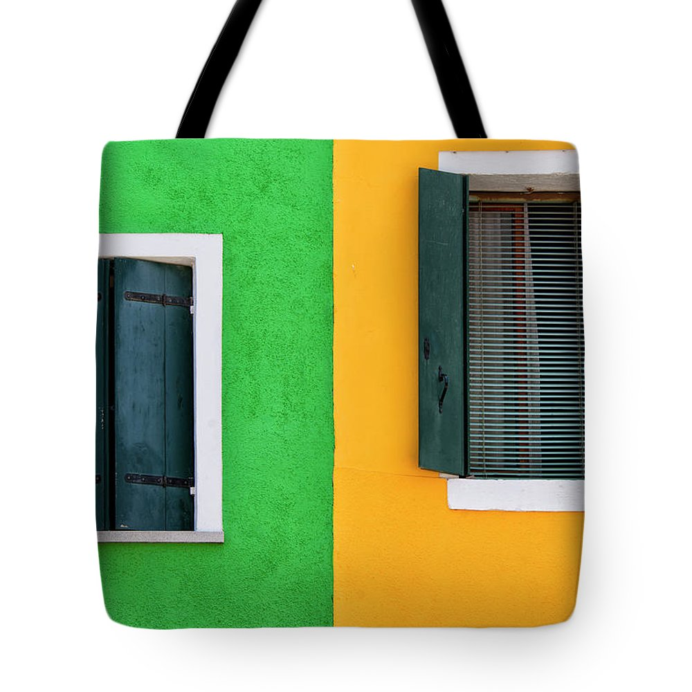 Tranquility Tote Bag featuring the photograph Sisters Windows, Burano, Italy by Stefan Cioata