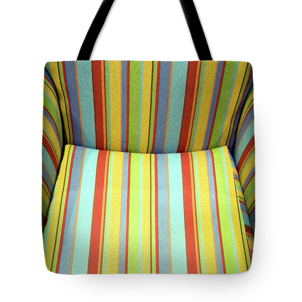 Chair Tote Bag featuring the photograph Sitting On Stripes by Cora Wandel