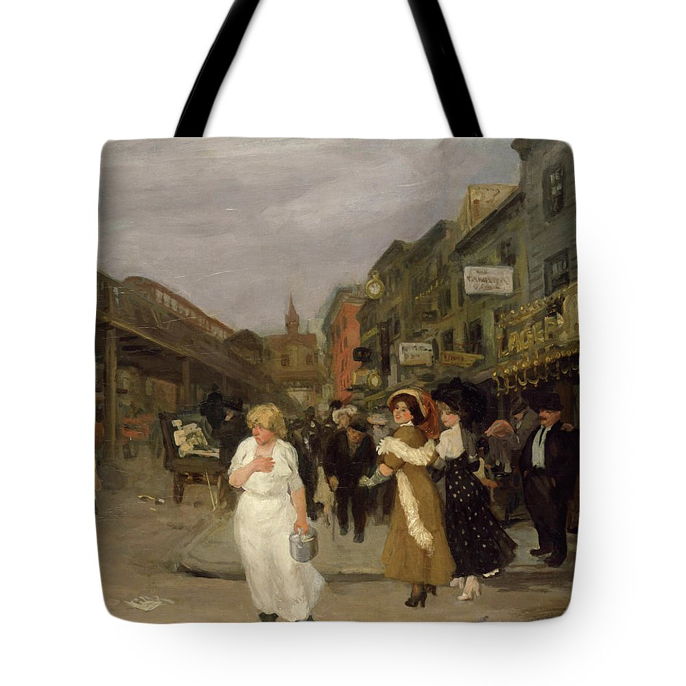 John French Sloan Tote Bag featuring the painting Sixth Avenue And Thirtieth Street, New York City, 1907 by John Sloan