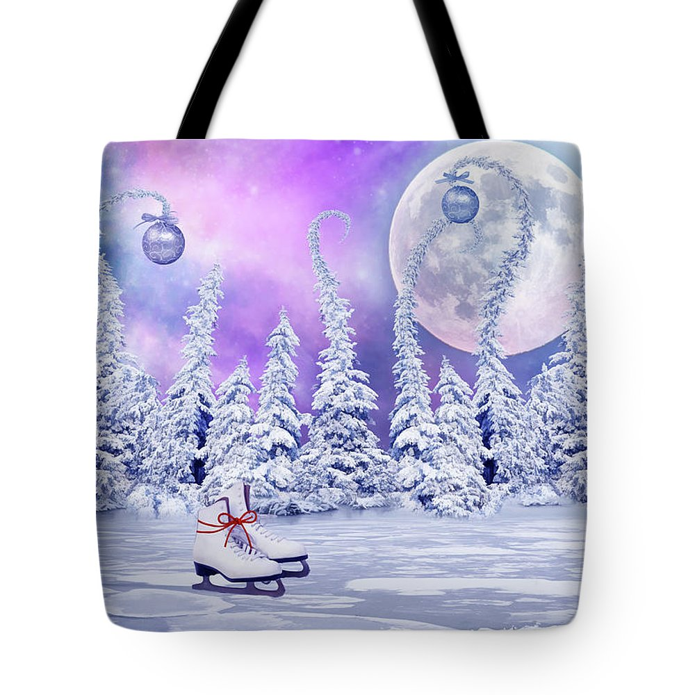 Christmas Tote Bag featuring the digital art Skating Time by Mihaela Pater