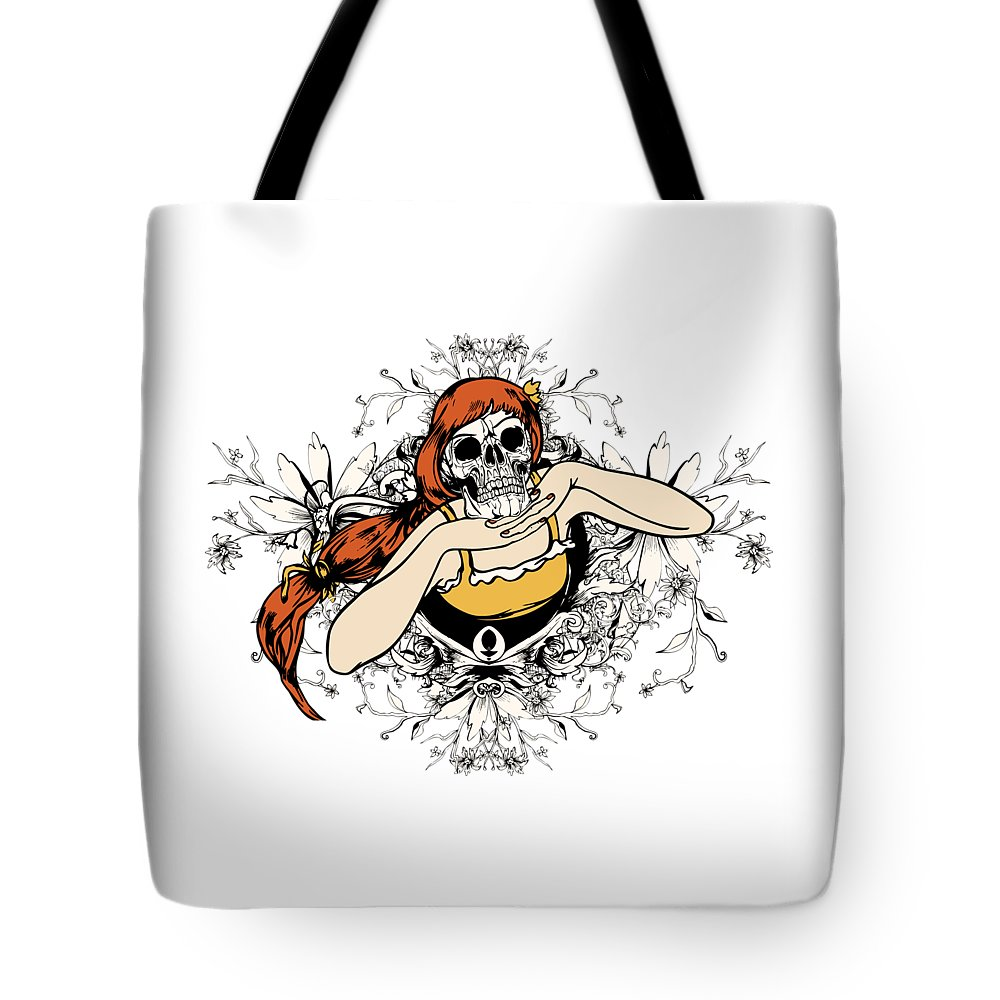 Flower Tote Bag featuring the digital art Skull Lady by Passion Loft