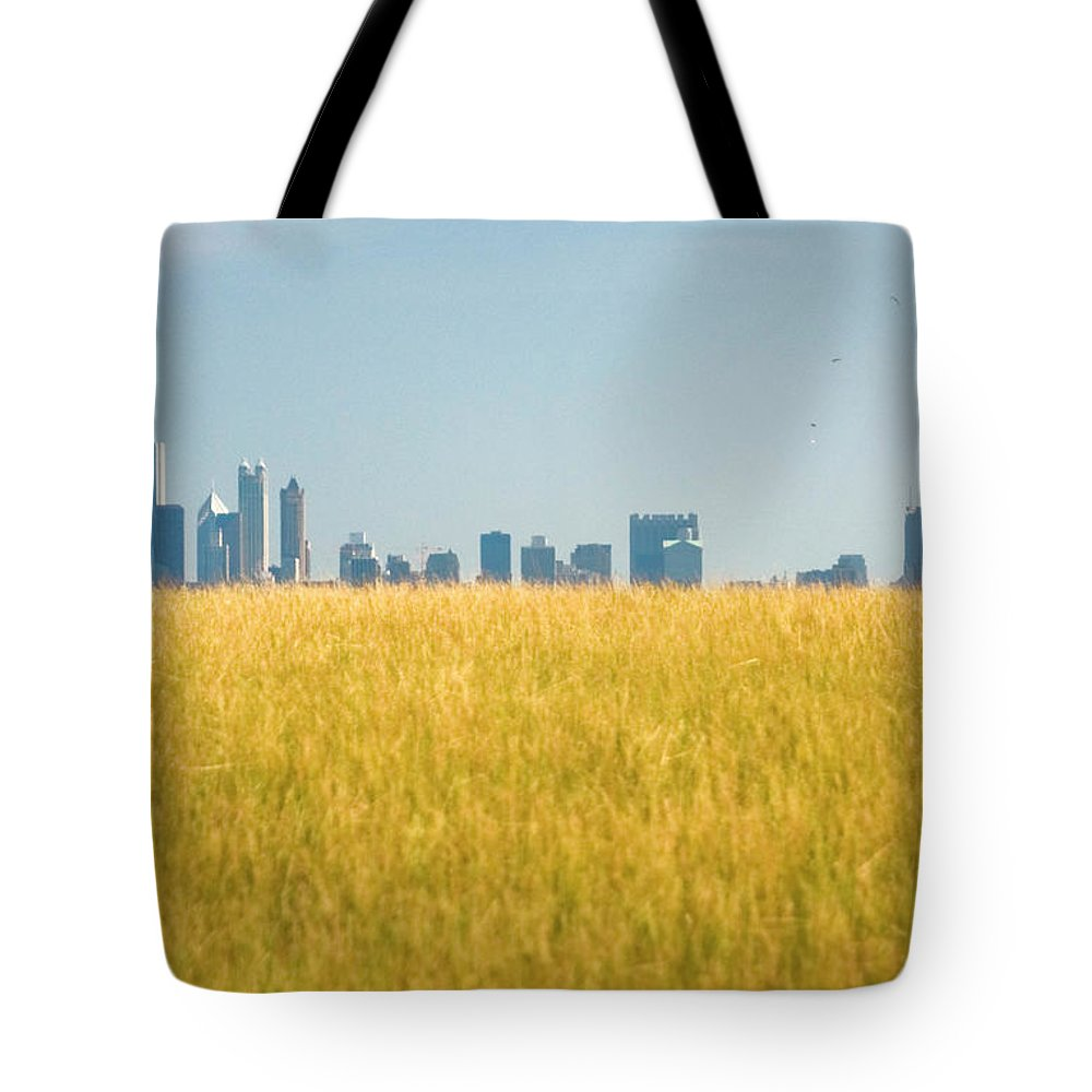 Grass Tote Bag featuring the photograph Skyscrapers Arising From Grass by By Ken Ilio