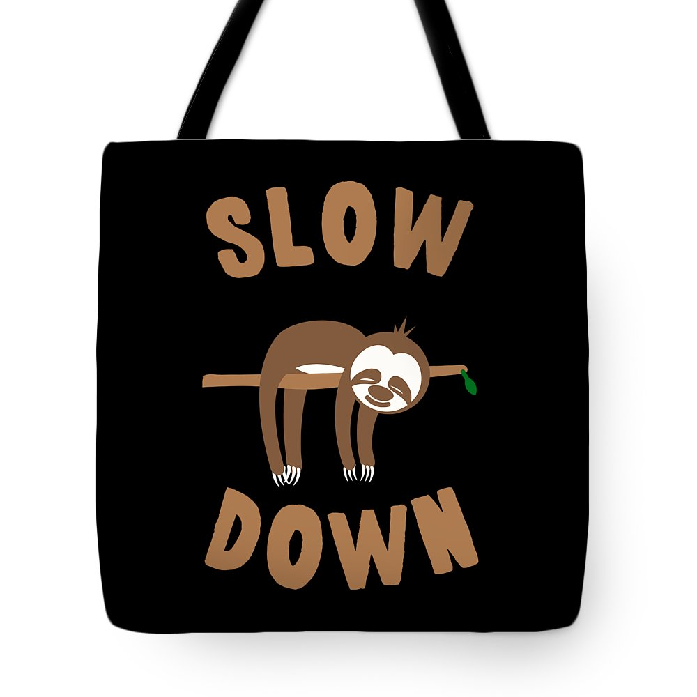 Cool Tote Bag featuring the digital art Slow Down Sloth by Flippin Sweet Gear