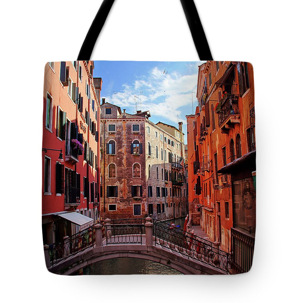Arch Tote Bag featuring the photograph Small Canals In Venice Italy by Totororo