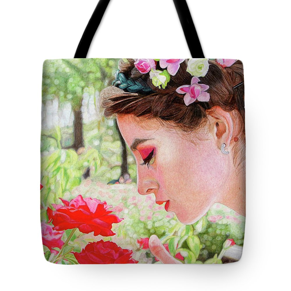 Girl Tote Bag featuring the drawing Smelling The Roses by Paramjeet Kaur