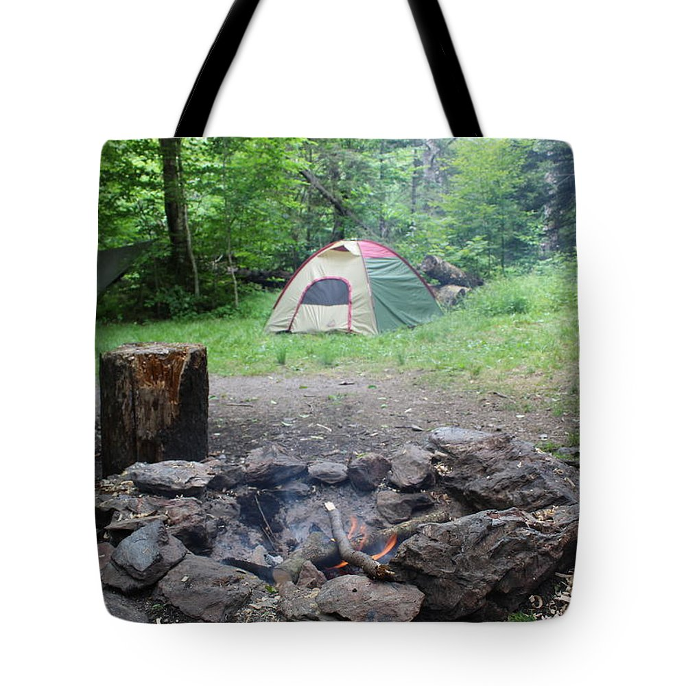 Tents Tote Bag featuring the photograph Smoking Tents by Brittany Galipeau