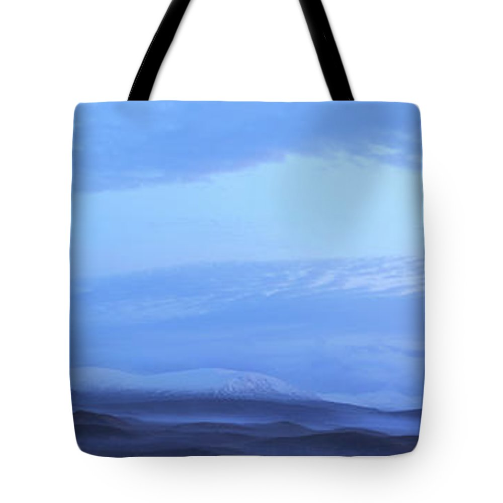Tranquility Tote Bag featuring the photograph Snow Covered Hills And Mist At Dawn by Jeremy Walker