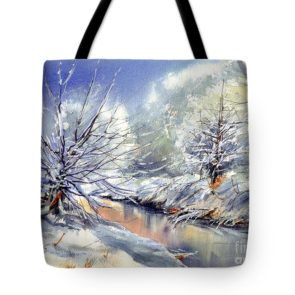 Winter Tote Bag featuring the painting Snow Flurry by Suzann Sines