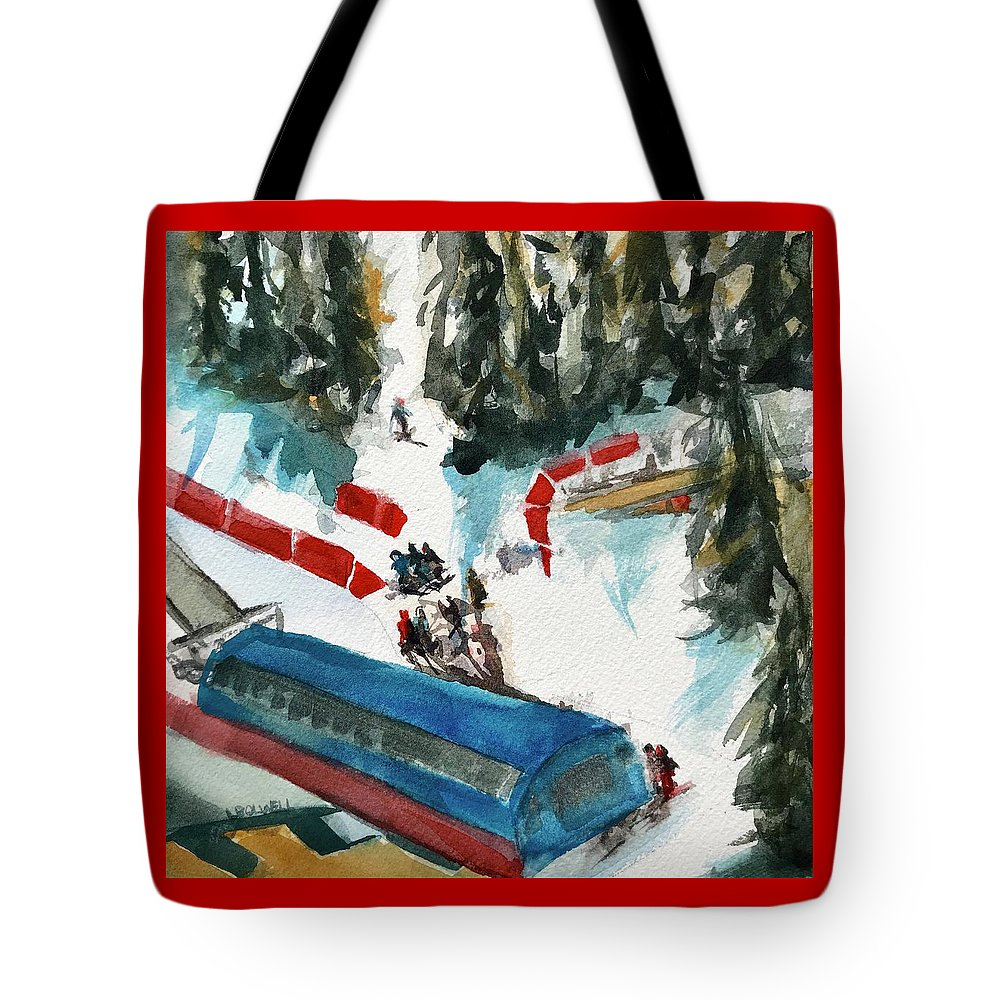 Skiing Tote Bag featuring the painting Snowbird Lift Study by Lynne Bolwell