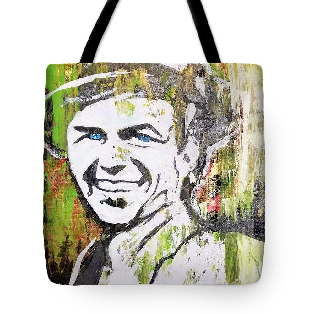 Frank Sinatra Tote Bag featuring the mixed media Something In Your Eyes by Jayime Jean