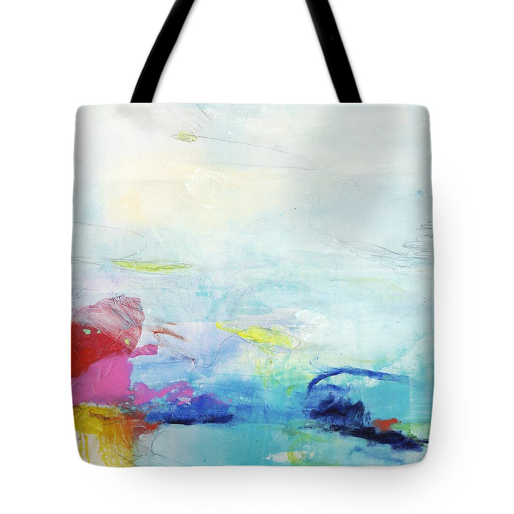 Abstract Tote Bag featuring the painting Somewhere Else by Claire Desjardins