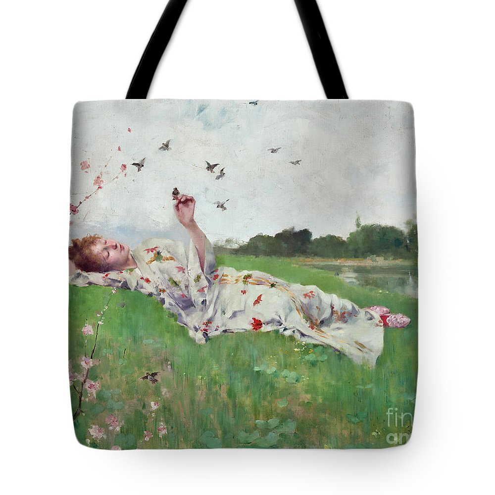 Songbirds Tote Bag featuring the painting Songbirds by Albert-Emile Artigue