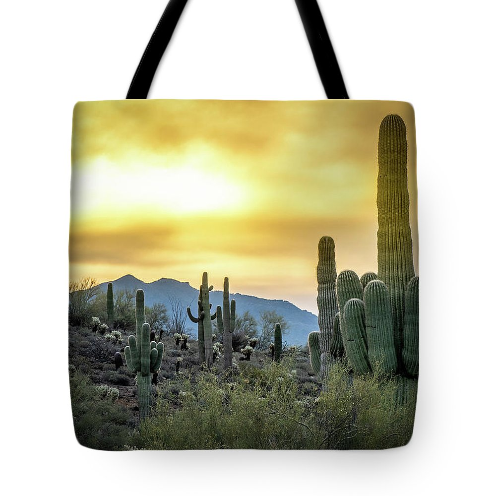 Arizona Tote Bag featuring the photograph Sonoran Sunrise by Philip Rispin