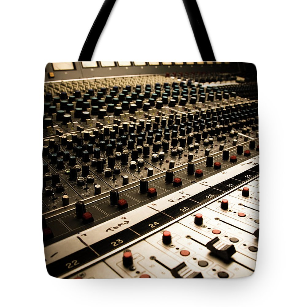 Shadow Tote Bag featuring the photograph Sound Board In Color by Halbergman