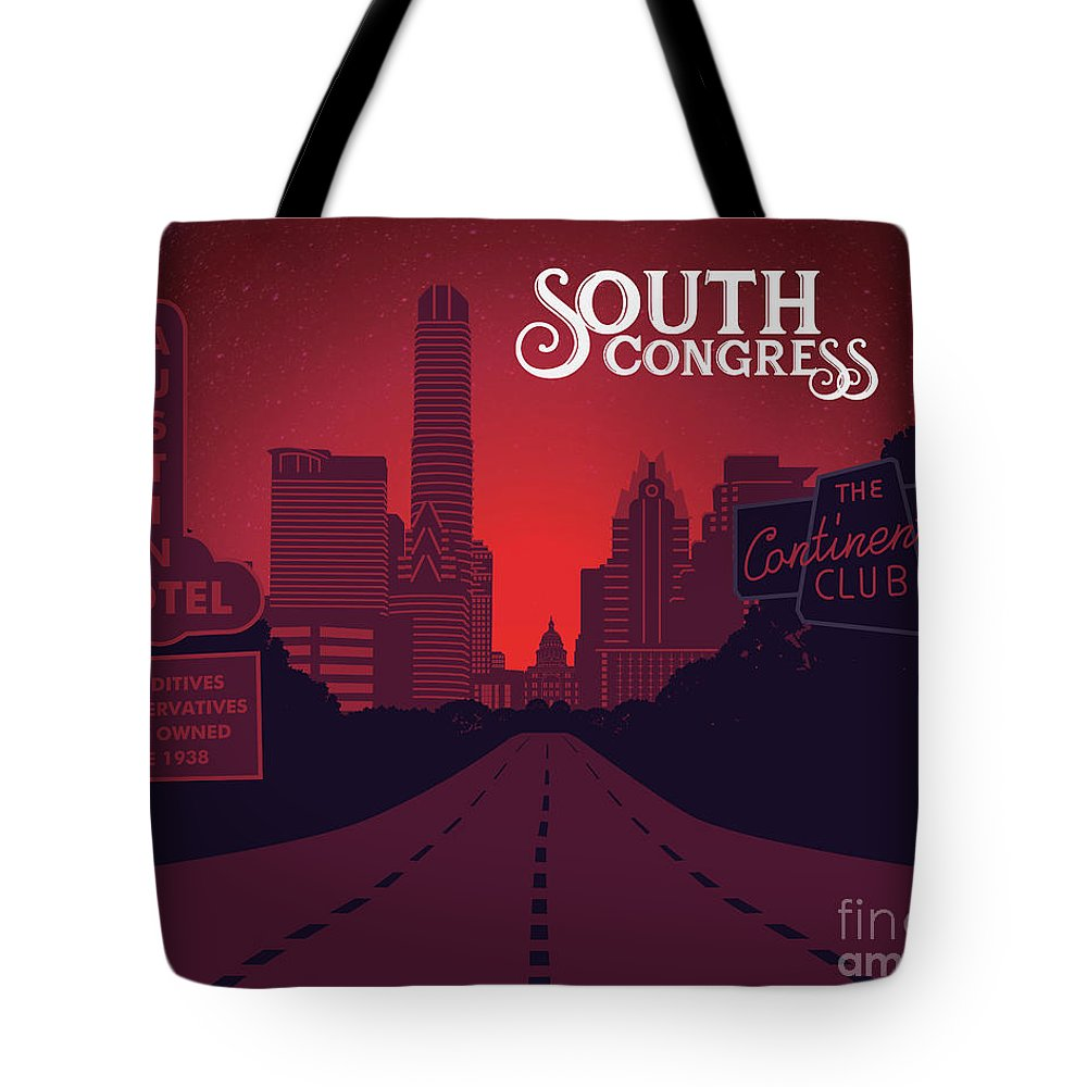 South Congress Avenue Tote Bag featuring the painting South Congress Avenue by Say Cheese Austin
