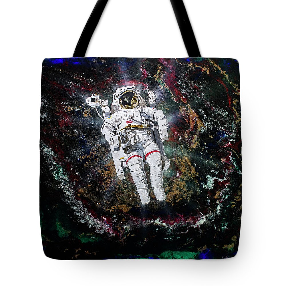 The Spacewalk Tote Bag featuring the painting Spaceman by Raymond Ore