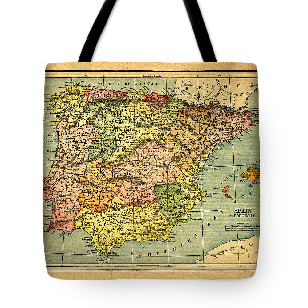 Weathered Tote Bag featuring the photograph Spain & Portugal Vintage Map by Belterz