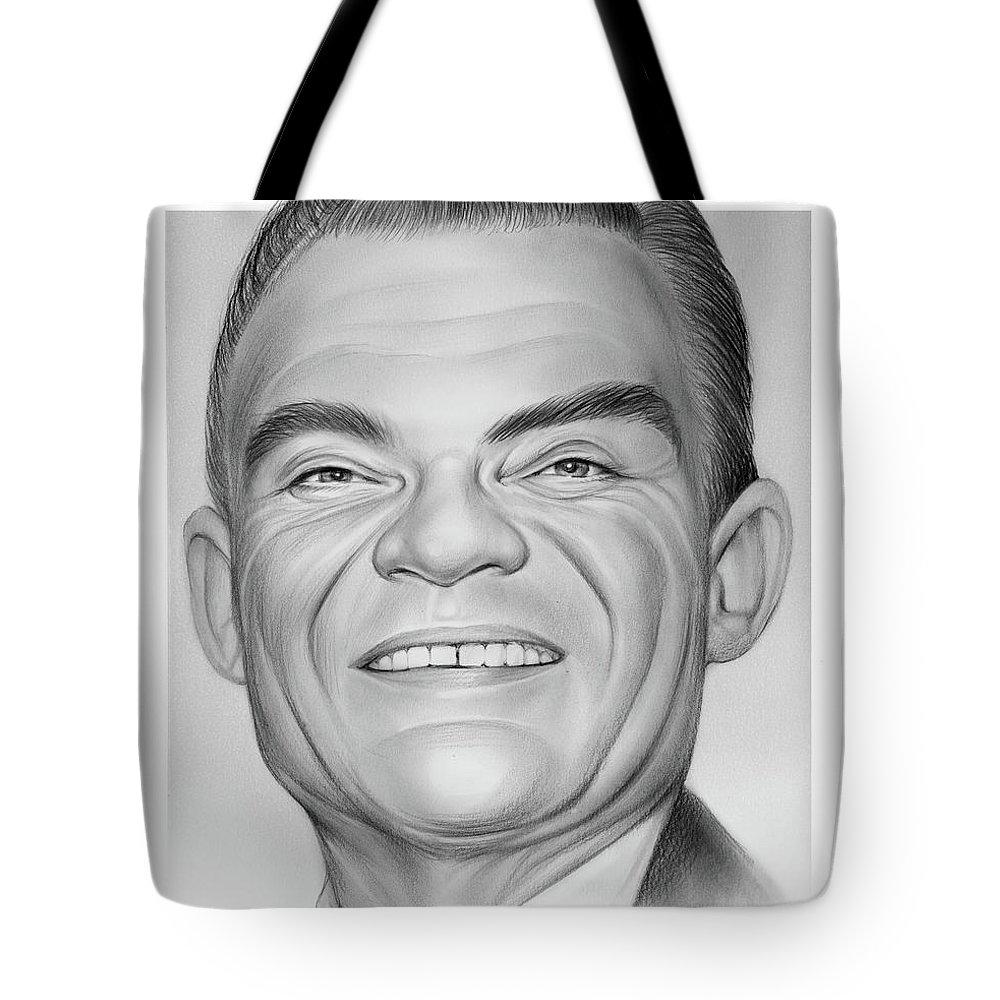 Spike Jones Tote Bag featuring the drawing Spike Jones by Greg Joens