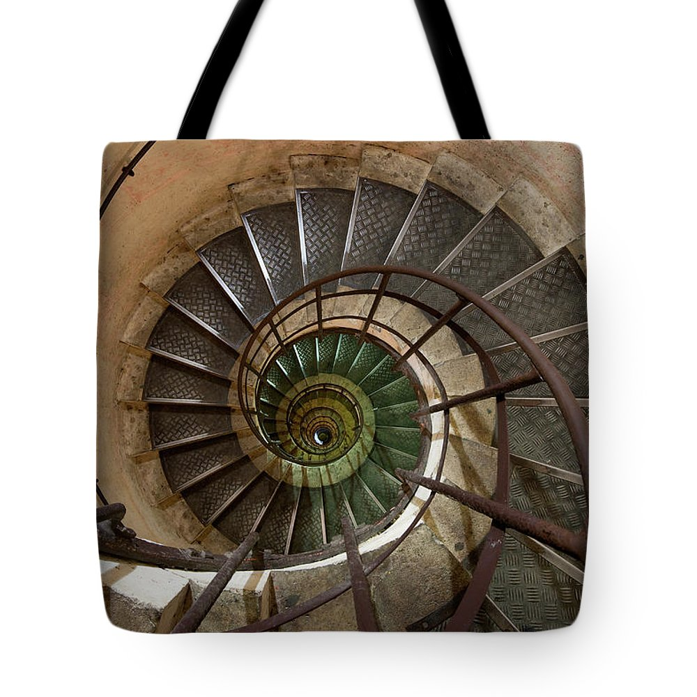 Built Structure Tote Bag featuring the photograph Spiral Staircase In The Arc De by Mint Images/ Art Wolfe