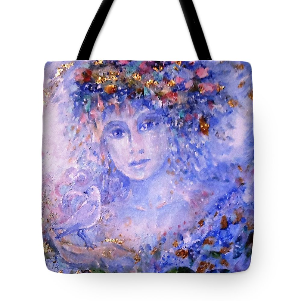 Painting And Collage Tote Bag featuring the painting Spirit Of Winter by Trudi Doyle