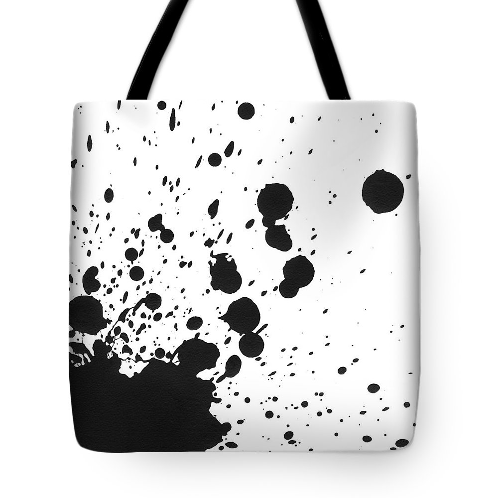 Art Tote Bag featuring the photograph Splattered Black Paint On White Canvas by Kevinruss