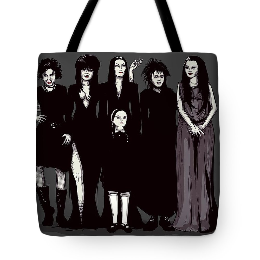 Craft Tote Bag featuring the drawing Spooky Girls by Ludwig Van Bacon