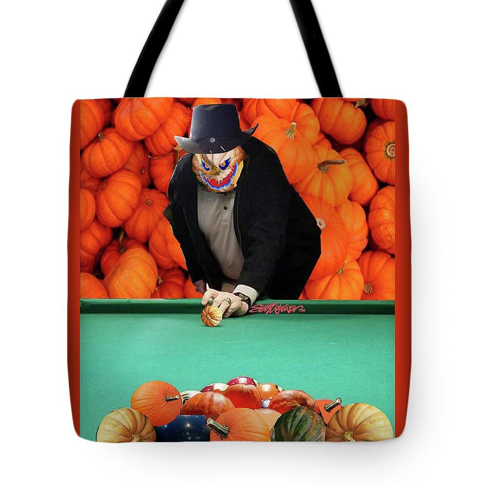 Spooky Pumpkin Pool Tote Bag featuring the digital art Spooky Pumpkin Pool by Seth Weaver