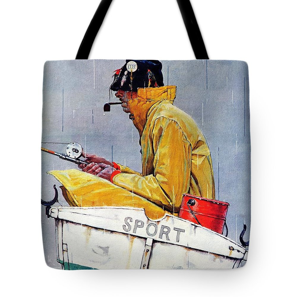 Fishing Tote Bag featuring the drawing Sport by Norman Rockwell