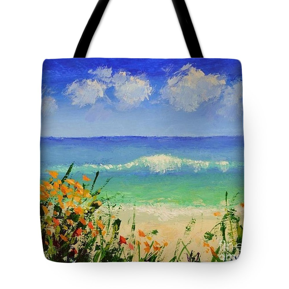 Spring Flowers And Sea And Flowers Tote Bag featuring the painting Spring Flowers And Sea And Clouds by Philip Jones
