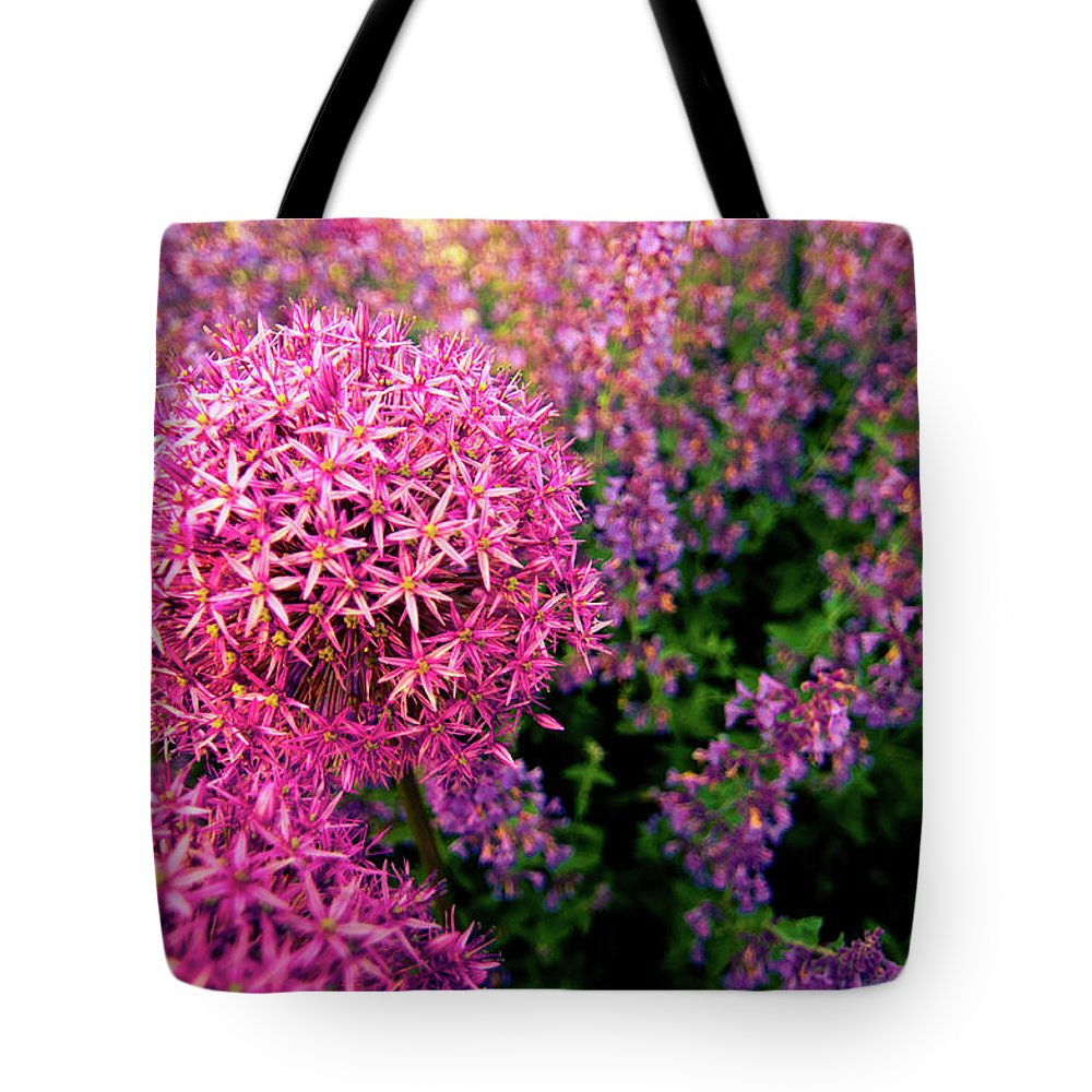 Purple Tote Bag featuring the photograph Spring Flowers In Garden by Flash Parker