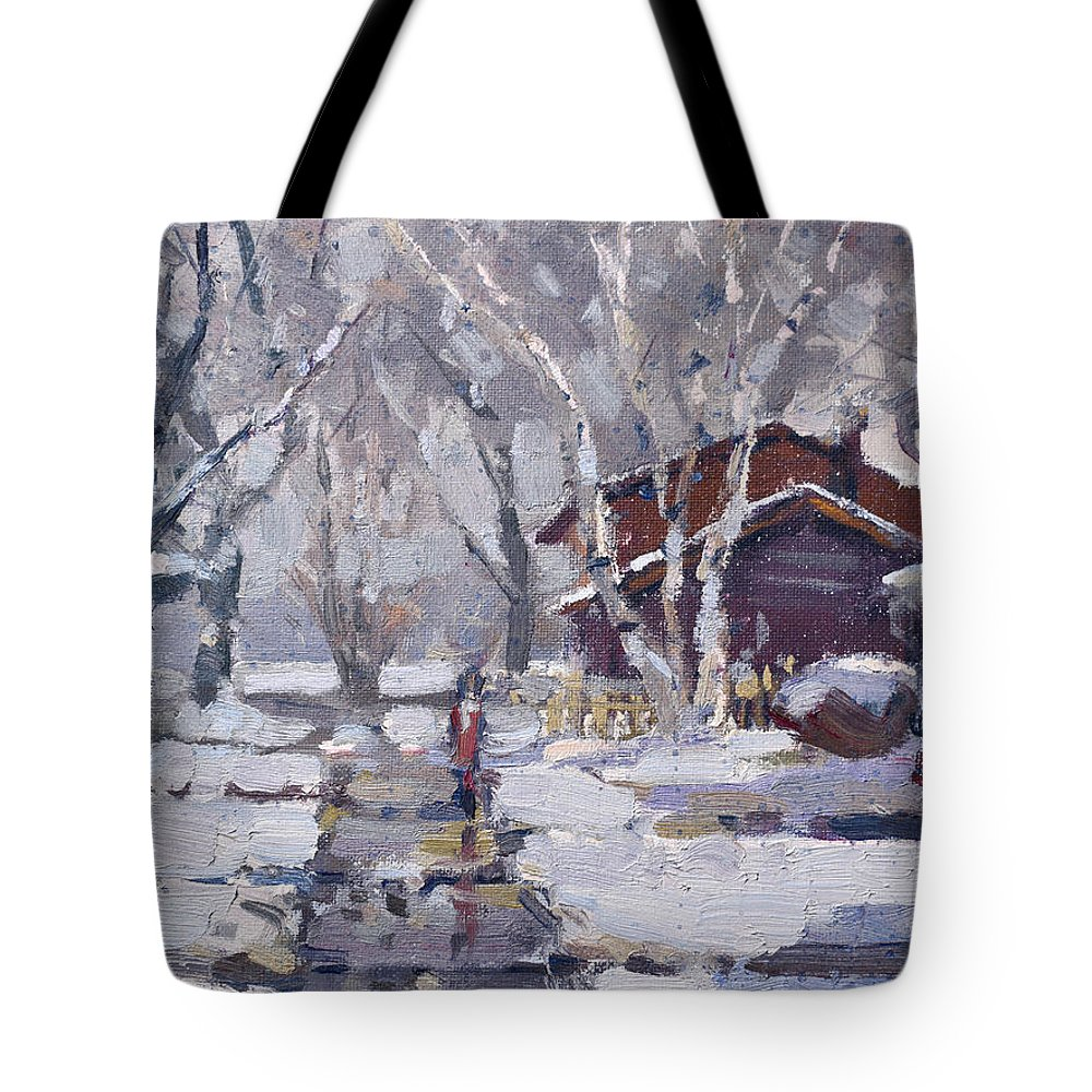 Snoe Tote Bag featuring the painting Spring Snow by Ylli Haruni