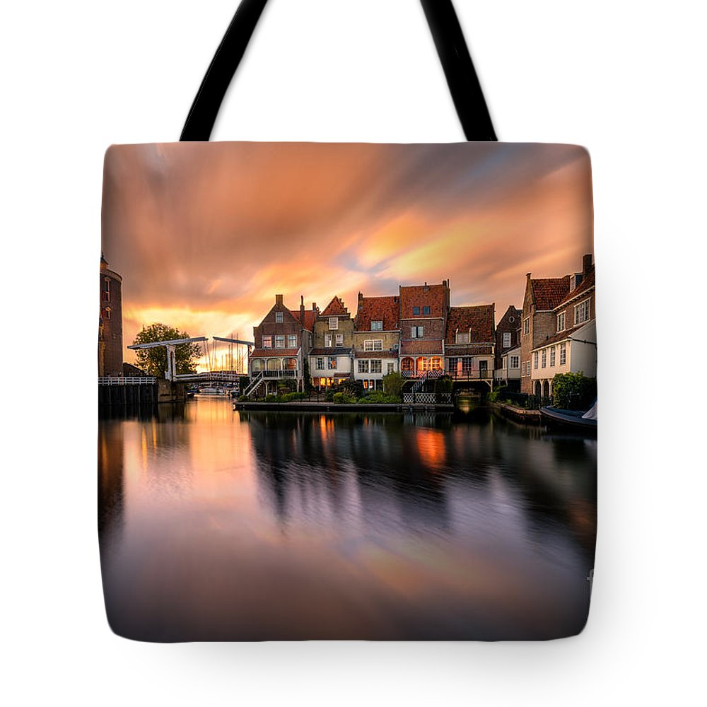 Enkhuizen Tote Bag featuring the photograph Spring Sunset In Enkhuizen by Costas Ganasos