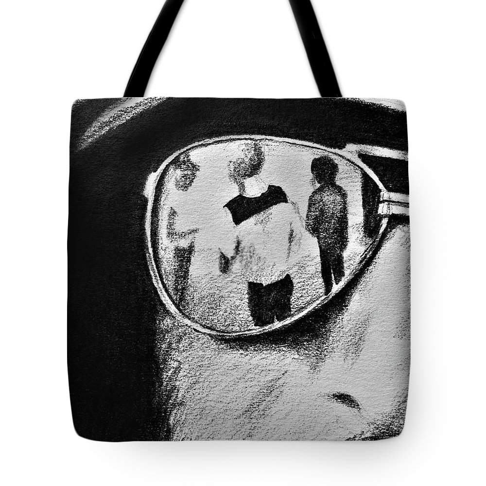 Springsteen Tote Bag featuring the drawing Springsteen Reflection by James Deady