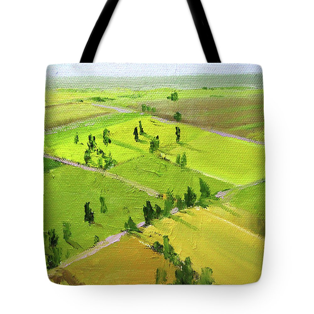 Springtime Landscape Tote Bag featuring the painting Springtime Horizon by Nancy Merkle